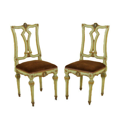 Pair of Neoclassical Chairs Lacquered Wood Italy 18th Century