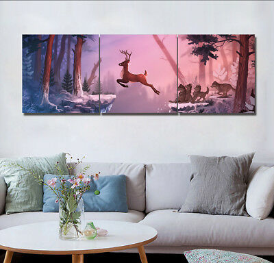 "Deer Escape Forest Wolf Wall Art On Canvas Modern Home Decor Picture 16x16""x3pc"