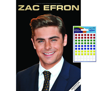 Calendar - Zac Efron 2019 Wall Calendar - Includes 70 Coloured Dot Stickers