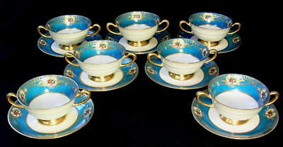 EXCEPTIONAL!  Vtg Turquoise Blue Gold Trimmed Enamel Jeweled Cream Soup Bowls