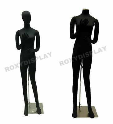 Female full body Poseable Mannequin form Black with flexible parts #JF-F02SOFTX