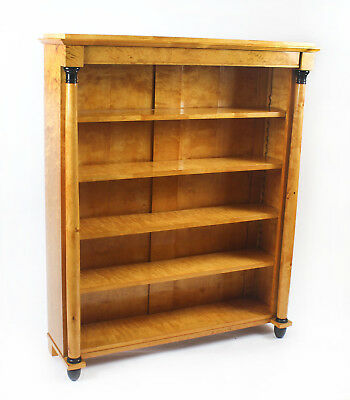 Antique Swedish Biedermeier Birch Wood Open Bookcase , late 19th C