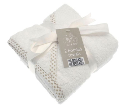 Baby hooded bath towels wrap x 2 Elli Raff unisex boy girl twin pack