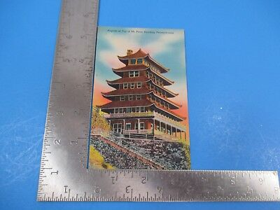 Vintage Pagoda Top of Mount Penn, Reading PA Day Post Card Correspondence PC54