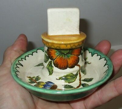 Vintage Gouda Holland Hand Painted Match or Card Dish? Floral Pattern