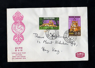 Hong Kong - 1974 - Year Of The Tiger - First Day Cover - With Cds Postmarks