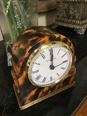 Maitland Smith Hand Painted Faux Tortoise Finished Table Top Clock Brass Accents