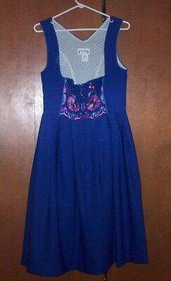 Women's Blue Embroidered German Dirndl Dress - Size 10 - Beautifully Designed