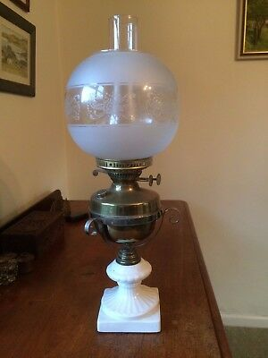 Antique Oil Lamp Brass and White Ceramic Base and Glass Shade