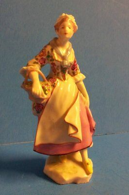 Antique Meissen Dresden Porcelain Figurine Lady w/Basket of Flowers (2)