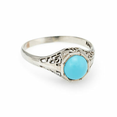 Antique Deco Turquoise Filigree Ring Vintage 14k White Gold Estate Fine Jewelry