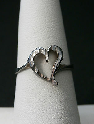 Unique Vintage Sterling Silver Heart Ring  Size 6.5  Old Pawn  Make Offer! #266