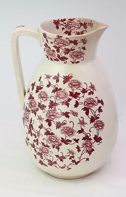 Antique Aesthetic Transferware Burgundy Carnation Floral Large Water Pitcher