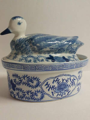 Vintage Blue-and-White Chinese Ceramic Duck Lid Tureen Soup Bowl