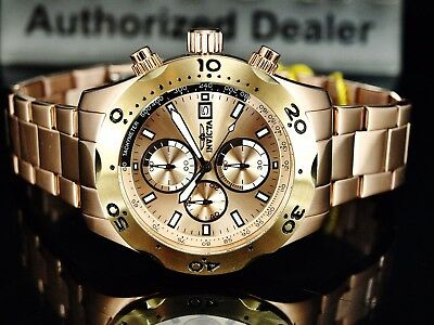 Invicta 45mm Men's Specialty Chronograph 18K RGP Gold Dial Stainless St Watch