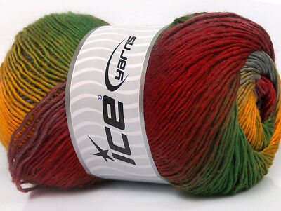 15a9062928b9b Lot of 4 x 100gr Skeins ICE PRIMADONNA (50% Wool) Yarn Red Green