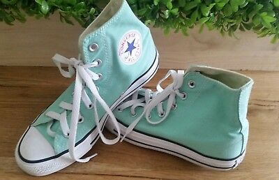 ff87abb63a2 Converse All Star High Tops Canvas Shoes Men s size 5 Womens size 7 Mint  Green
