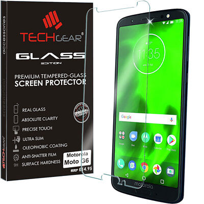 Genuine TECHGEAR TEMPERED GLASS Screen Protector Cover for Motorola Moto G6