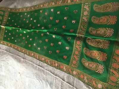 Beautiful Vintage Table Runner With Metallic Threads