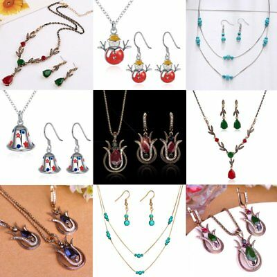 New Fashion Women Crystal Turquoise Flower Snowman Necklace Earrings Set Jewelry