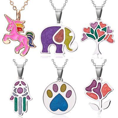 Fashion Stainless Steel Footprint Horse Elephant Necklace Pendant Women Jewelry