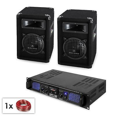 Pack sono complet pro DJ PA ampli USB SD MP3 300W 2 enceintes LED 2x16,5cm cable