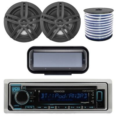 "Kenwood Bluetooth CD Radio Radio w/ Cover, 2x Enrock 6.5"" Speakers, 50 Ft Wire"
