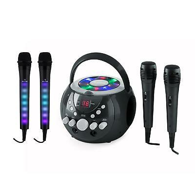 Chaine karaoke Pack complet Lecteur CD portable 2x enceintes stereo 4x micros