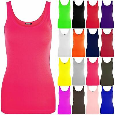 New Ladies Womens Plain Summer Tank Tops Stretchy Casual T Shirt Cotton Vest Top