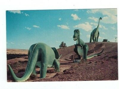 SD Rapid City South Dakota vintage post card View in Dinosaur Park