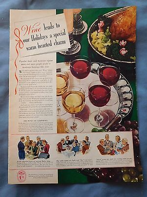 Vtg Large Color Print Ad California Wine Burgundy Sauterne Holiday Sherry