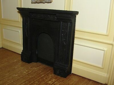 Dollhouse Miniature Black Cast Fireplace