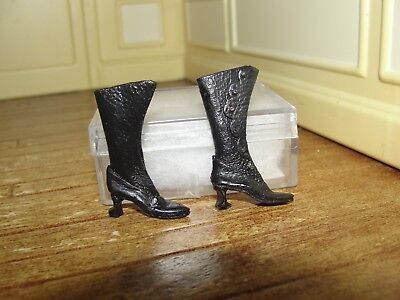 Dollhouse Miniature Ladies Black Leather High Button Boots  The Doll's Cobbler