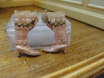 Dollhouse Miniature Ladies Pink Leather High Button Boots  The Doll's Cobbler