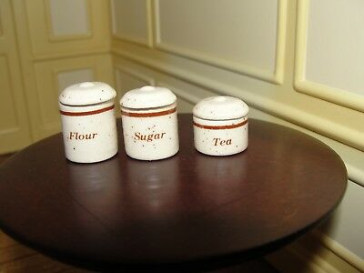 Dollhouse Miniature 3 Piece Canister Set w Covers
