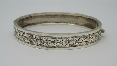 Antique Victorian Sterling Silver Cuff Bangle Bracelet (Small wrist or Childs)