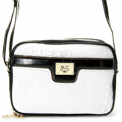 Madi Claire Jasmine Croco Embossed Leather Crossbody Bag In White