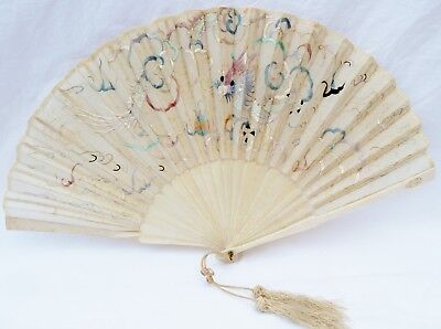 Vintage Antique Chinese Dragon Embroidered Silk Fan NO RESERVE.