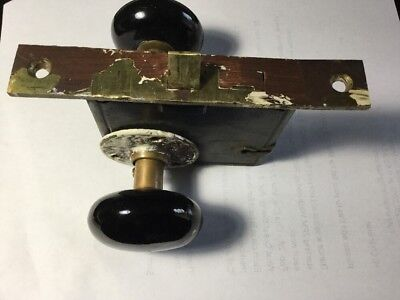 ANTIQUE Victorian R.H.CO. BRASS MORTISE LOCK & handle set. Reading Hardware Co.