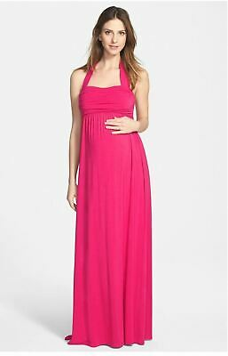4e1fa1d0ac71a Ingrid & Isabel Maternity Convertible Long Pink Maxi Dress Sleeveless Small  ...