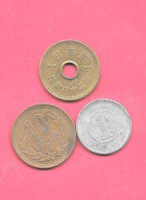 Japan Japanese 3 Diff Different Coin Lot Collection Set Group W Old