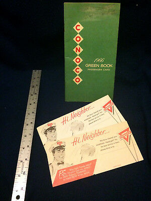 "Conoco 1966 ""green book"" for passenger cars, plus Touraide station handout cards"