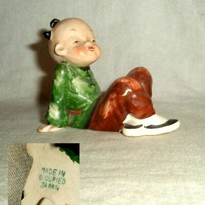 1948-1952 OCCUPIED JAPAN colorful young ORIENTAL BOY SITS legs out RELAXING euc