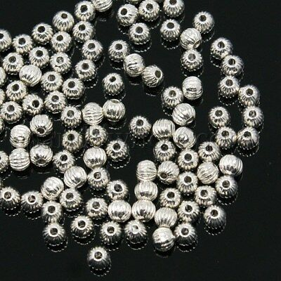 🎀 3 FOR 2 🎀 100 Silver Silver Pumpkin 4mm Spacer Beads For Jewellery Making