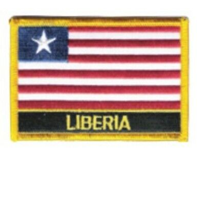 """LIBERIA FLAG EMBROIDERED PATCH WITH NAME - IRON-ON - NEW 2.5 x 3.5"""""""