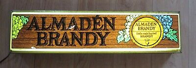 "Vintage ALMADEN BRANDY Liquor LIGHTED Advertisement Sign ""Little Oak Barrel"""