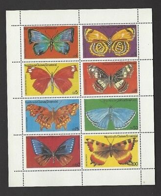 Equatorial Guinea Sheetlet Of 8 Butterflies Mnh