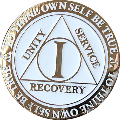 1 Year AA Medallion Reflex Glow In The Dark Gold Plated Sobriety Chip Coin One