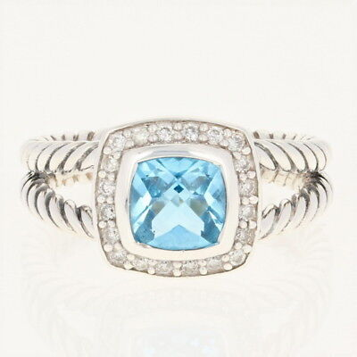 9efe20c9ad004 David Yurman 7mm Blue Topaz Petite Albion Ring - Sterling Halo Diamonds  .17ctw
