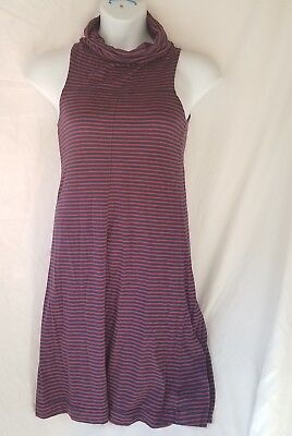 Horny Toad Dress size M blue red striped sleeveless long turtleneck womens